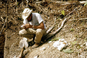 Gomez excavating at the Olmec site of San Lorenzo in 1966. He is attempting to untie a knot in a string around a bag of potsherds after realizing that he failed to insert the identification tag.