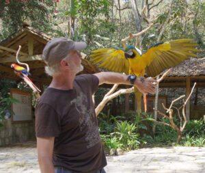 Dixie at bird rescue facility, Macaw Mountain near Copan, Honduras
