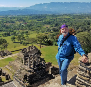 Dixie Watkins III atop the acropolis at Tonina, Chiapas.
